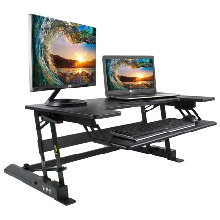 VIVO Height Adjustable Standing Desk Monitor Riser Gas Spring | Black Tabletop Sit to Stand Workstation (DESK-V000B) (Standing Wall Desk)