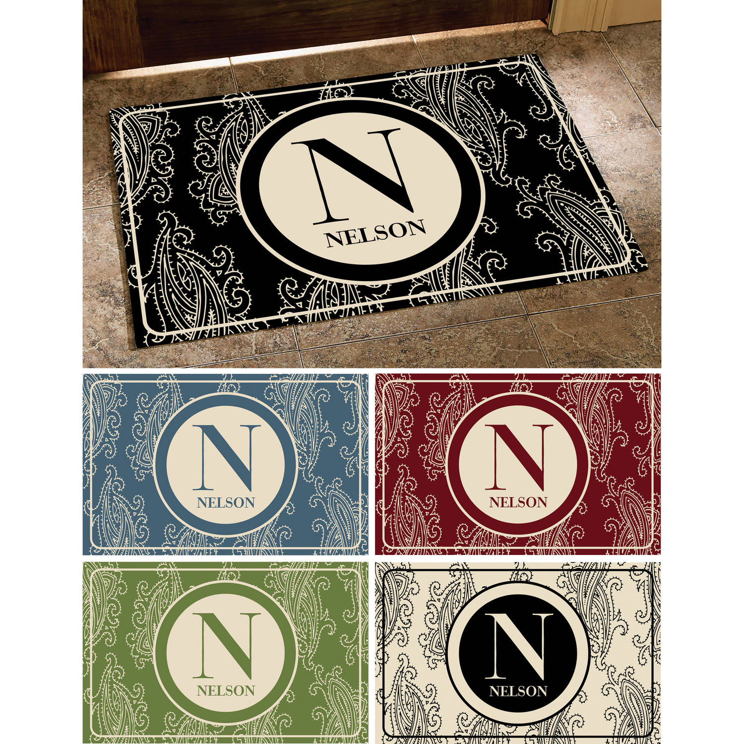 Personalized Paisley Initial & Name Doormat, Available in 5 Colors