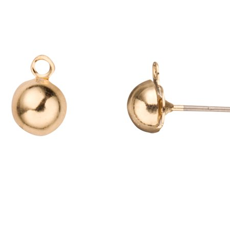 12pcs Hypoallergenic 6mm Large Ball Stud Earring Finding With Hanging Loop Gold Finished 13x8mm Earring Making Supplies Findings Earwire Earring