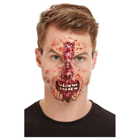 Zipper Mouth Halloween Makeup (Red Exposed Nose and Mouth Unisex Face Wound Make-up)