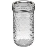 Ball Quilted Crystal Mason Jar With Lid & Band, Regular Mouth, 12 Ounces, 12 Count