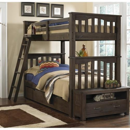 NE Kids Highlands Harper Twin over Twin Bunk with Trundle in Espresso
