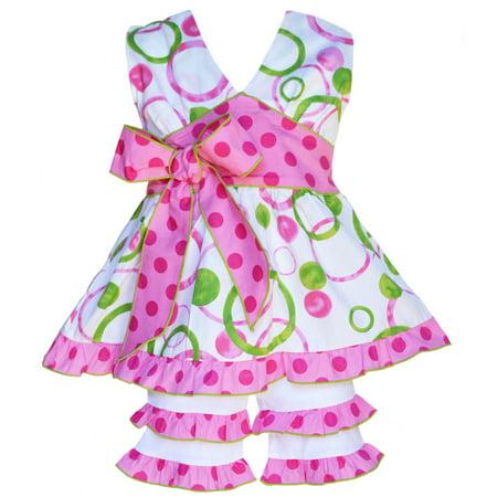 AnnLoren Girls Boutique Pink & Green Halter Capri Shorts Clothing Set