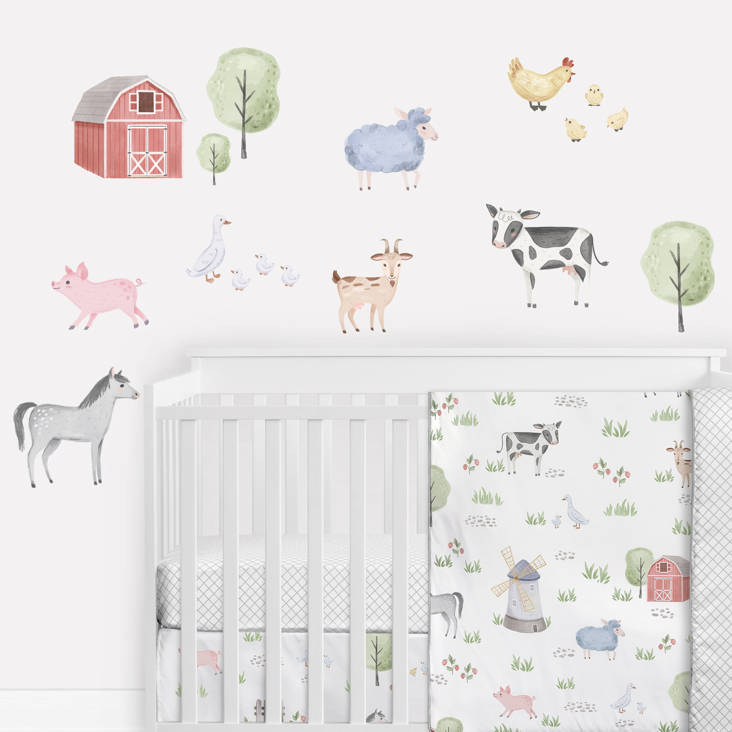 Sweet Jojo Designs Farm Animals Large Peel And Stick Wall Decal Stickers Art Nursery Decor Mural Set Of 4 Sheets Watercolor Farmhouse Barn Horse Cow Sheep Pig Chicken Sheep Goat