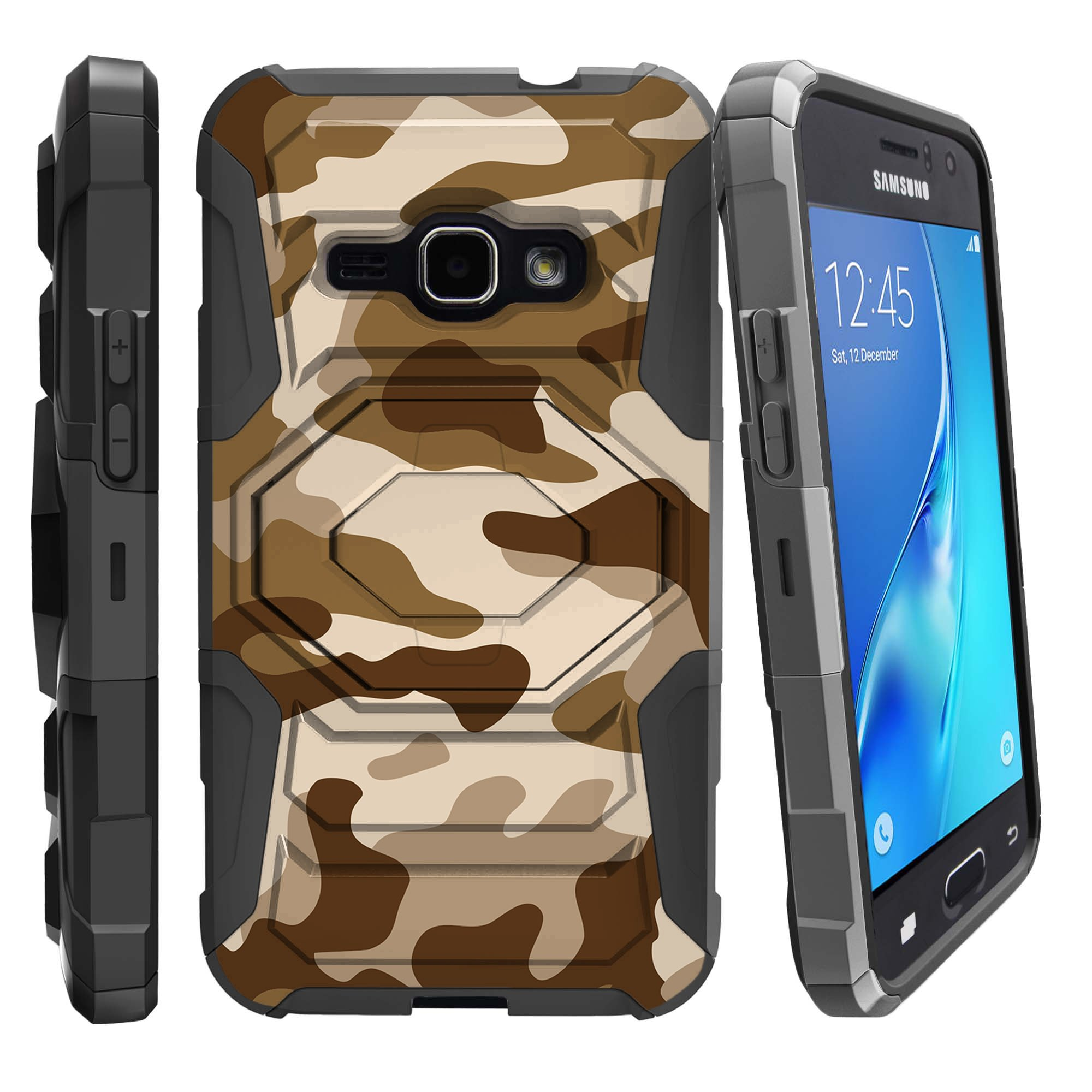 Case for Samsung Galaxy J3 (SM-J310) | Case for Express Prime | Case for Amp Prime  [ Armor Reloaded ] Heavy Duty Case with Belt Clip & Kickstand Camo Collection