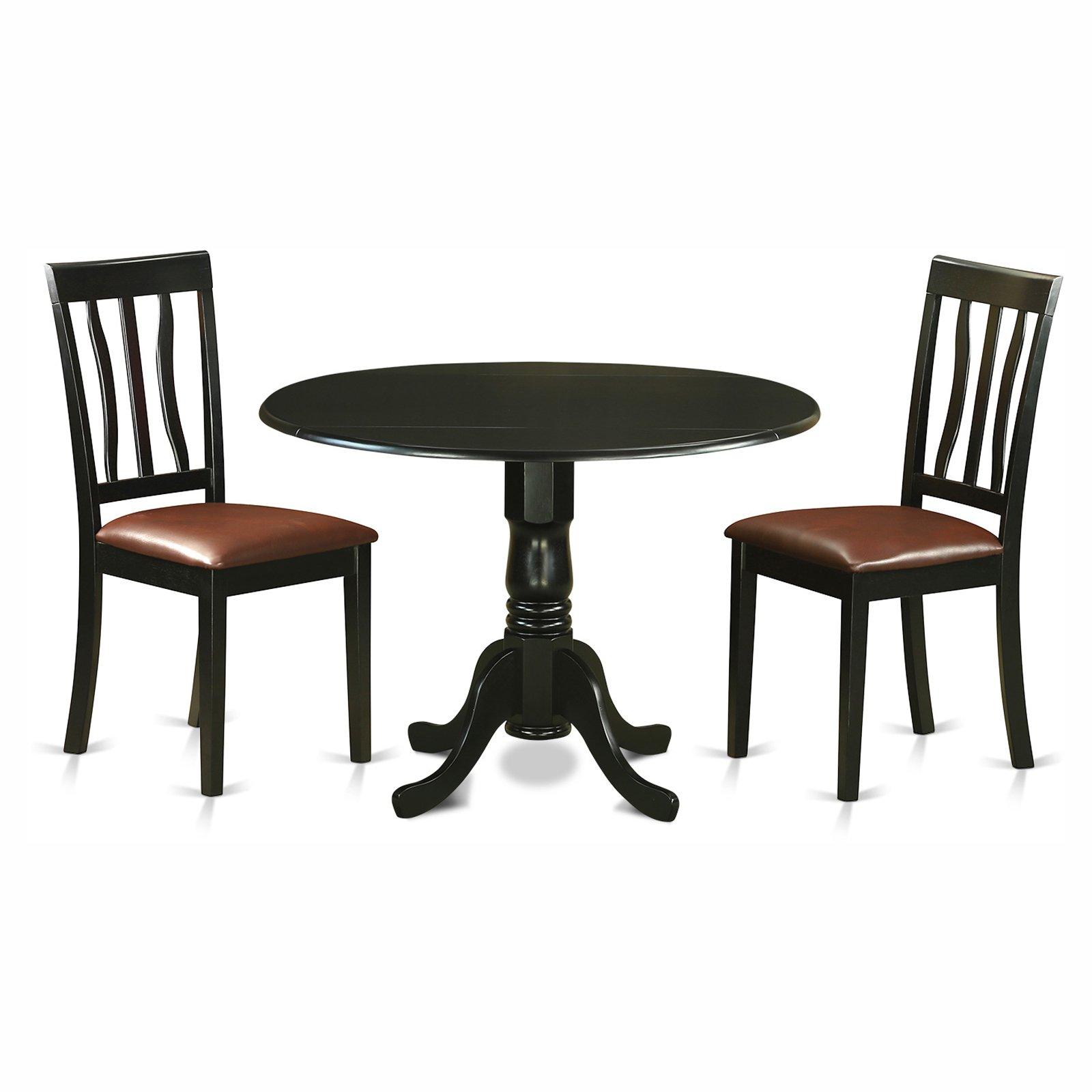 East West Furniture Dublin 3 Piece Drop Leaf Dining Table Set with Faux Leather Antique Chairs