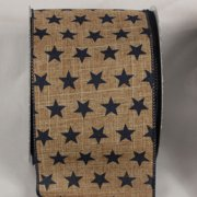 """Brown and Navy American Stars Wired Craft Ribbon 4"""" x 20 Yards"""