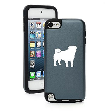 For Apple iPod Touch 5th / 6th Generation Aluminum & Silicone Hard Case Cover Pug Dog - Silver Touch 100% Silicone