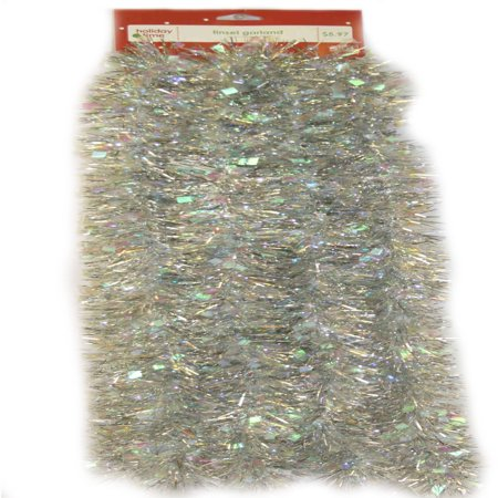 Holiday Time Tinsel Garland, Iridescent Silver