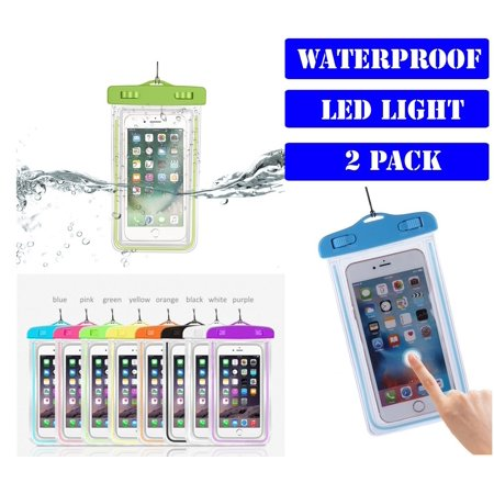 bc181dea14 (2 Pack) Universal Waterproof Case With Arm Band and LED Lighting Dry Bag  Phone