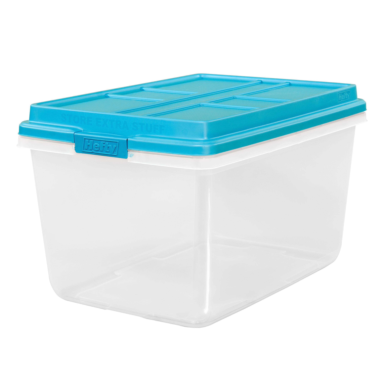 Hefty 72 Qt Hi Rise Clear Latch Box Teal Sachet Lid And Handles