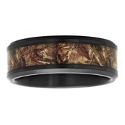 Mens Black IP Stainless Steel 8MM Camo Inlay Wedding Band