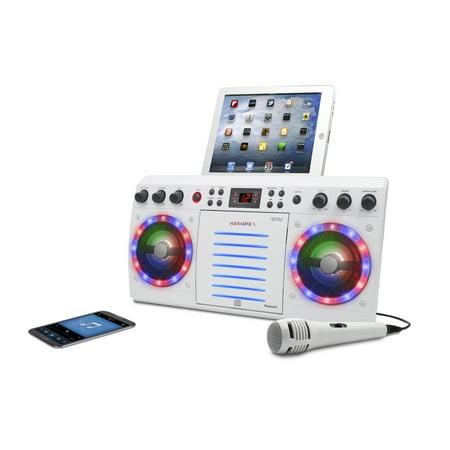 Multi Format Karaoke (iKaraoke KS303B-BT Bluetooth CD&G Karaoke System with Multi Color Lighting Effect, White )