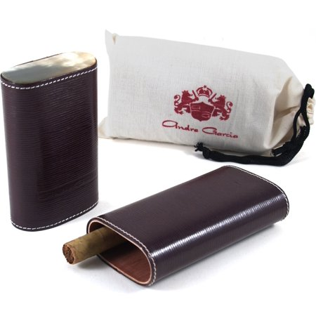 Andre Garcia Limited Edition Maroon Woven Leather Cedar-Lined Telescopic 3 Finger Cigar Case with Flat Buffalo Horn Accent 3 Finger Leather Cigar
