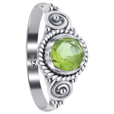Peridot Gemstone Chip - Gem Avenue 925 Sterling Silver Peridot Gemstone Bali Design Solitaire Ring Size 7