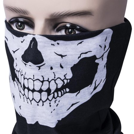 WALFRONT Motorcycle Face Masks,Motorcycle Face Mask Skull Mask Half Face for Out Riding Motorcycle Black Motorcycle Snowboard Cycling Hiking Perfect Halloween Mask Outdoor Face Mask