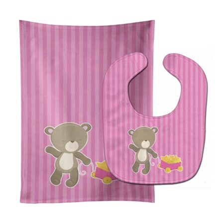 Carolines Treasures BB8619STBU Baby Girl Bear Wagon Baby Bib & Burp Cloth - image 1 of 1