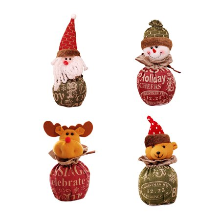 Christmas Candy Bag Cartoon Snowman Santa Claus Xmas Fruit Pouch Home Party Decoration Gift Holder - image 3 of 9