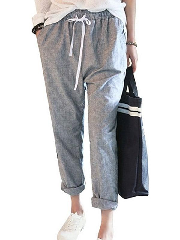 Women Striped Mid Waist Casual Loose Long Pants