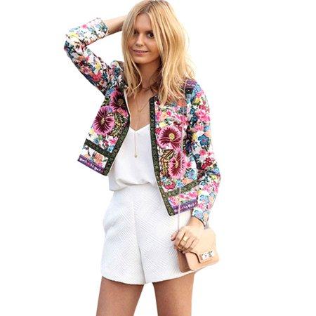 - Maraso Women Spring Floral Print Short Jacket Coat
