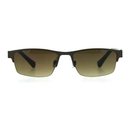 Mens 3 Focal Multi-focus Metal Half Rim Sunreader Reading Glasses Copper Brown 1.5 ()
