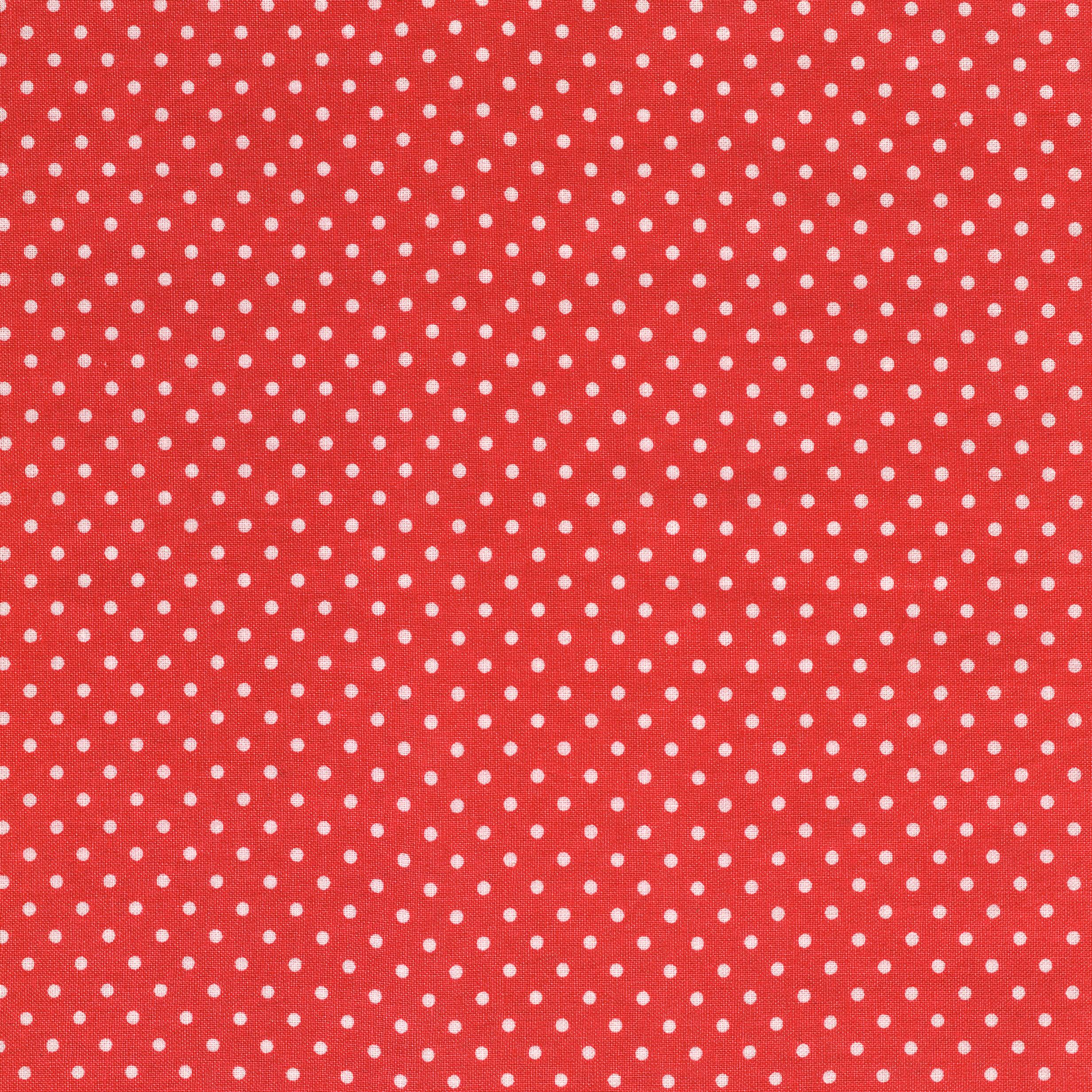 SHASON TEXTILE (3 Yards cut) 100% COTTON PRINT QUILTING FABRIC, CORAL / WHITE SMALL DOTS.
