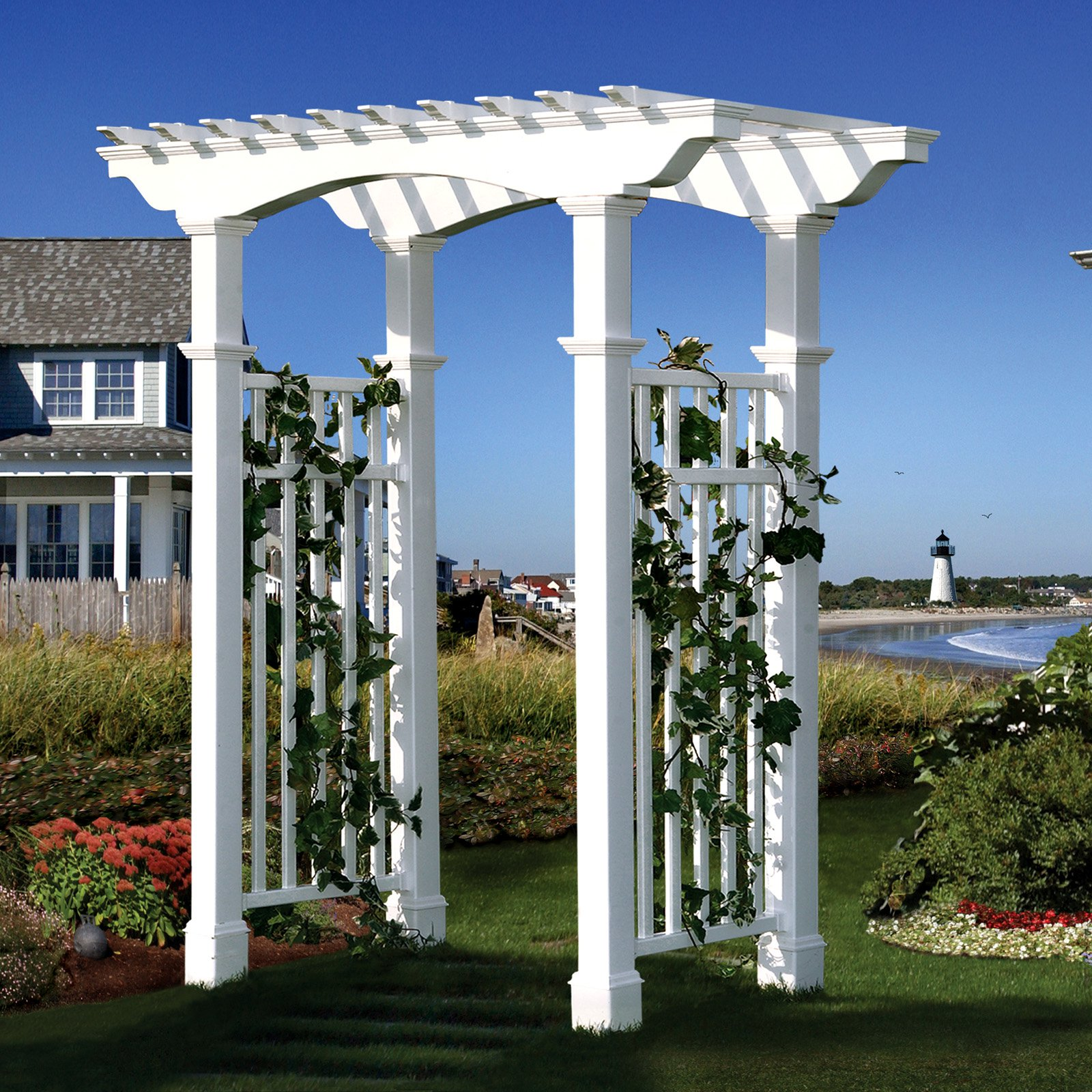 New England Arbors Newport 7.75-ft. Vinyl Pergola Arbor by New England Arbors