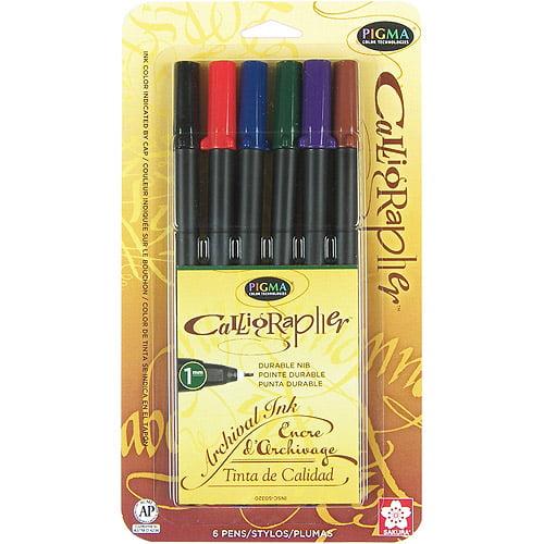Pigma Calligrapher Pens, 1mm, 6pk, Assorted