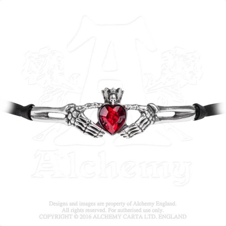Claddagh Love Friendship Loyalty Until Death Skeleton Hands Red Crystal Gothic Choker Necklace