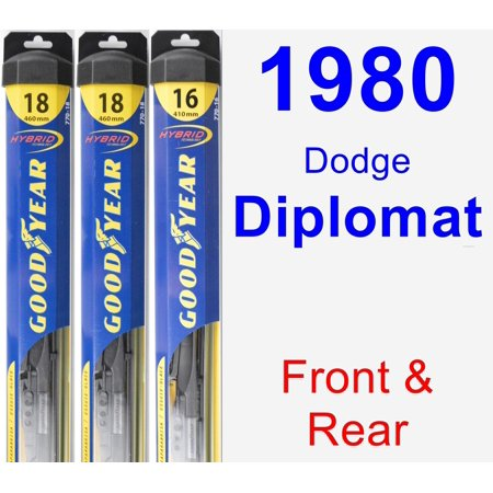1980 Dodge Diplomat Wiper Blade Set/Kit (Front & Rear) (3 Blades) - Hybrid