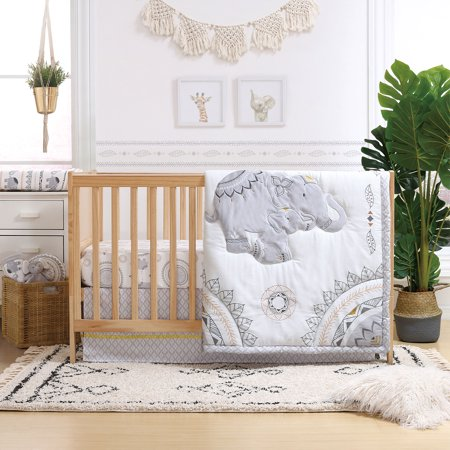 Boho Grey Elephant 4 Piece Baby Crib Bedding Set By The