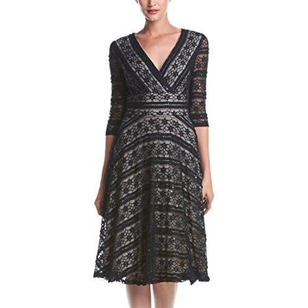 Sangria Sangria Womens Elbow Sleeve Lace Fit And Flare Dress