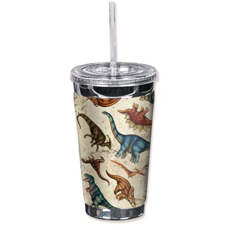 Mugzie Sweat Proof 16-Ounce To Go Tumbler with Insulated Wetsuit Cover - Dinosaur
