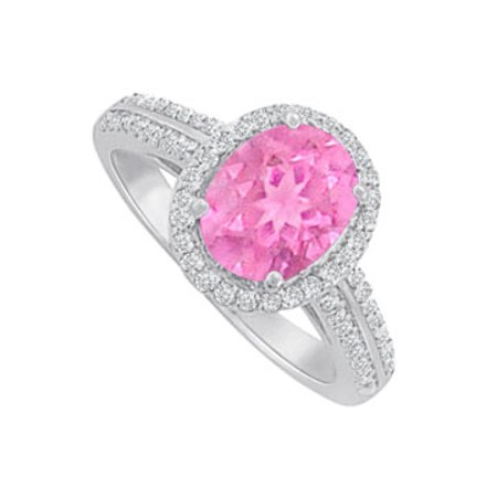 Chic Pink Sapphire CZ Halo Ring in 925 Sterling Silver - image 1 de 2