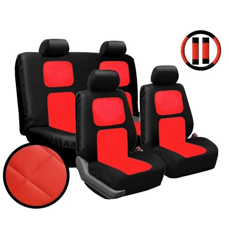 (Premium 13 Piece Luxury Red Diamond Stitching Universal Faux Leather Car Seat Cover Set w/ Steering Wheel & Seat Belt Pads)