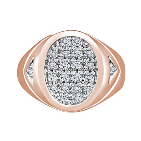 1/4 Carat Round Shape White Natural Diamond Men's Anniversary Ring 10K White Gold (0.25 Ctw)