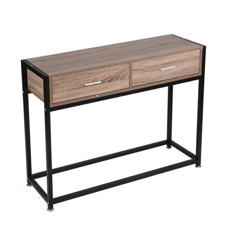 KARMASFAR PRODUCT Entryway Console Table Hallway with 2 Drawers Wooden Metal Narrow Sofa Table with Two Storage Compartments