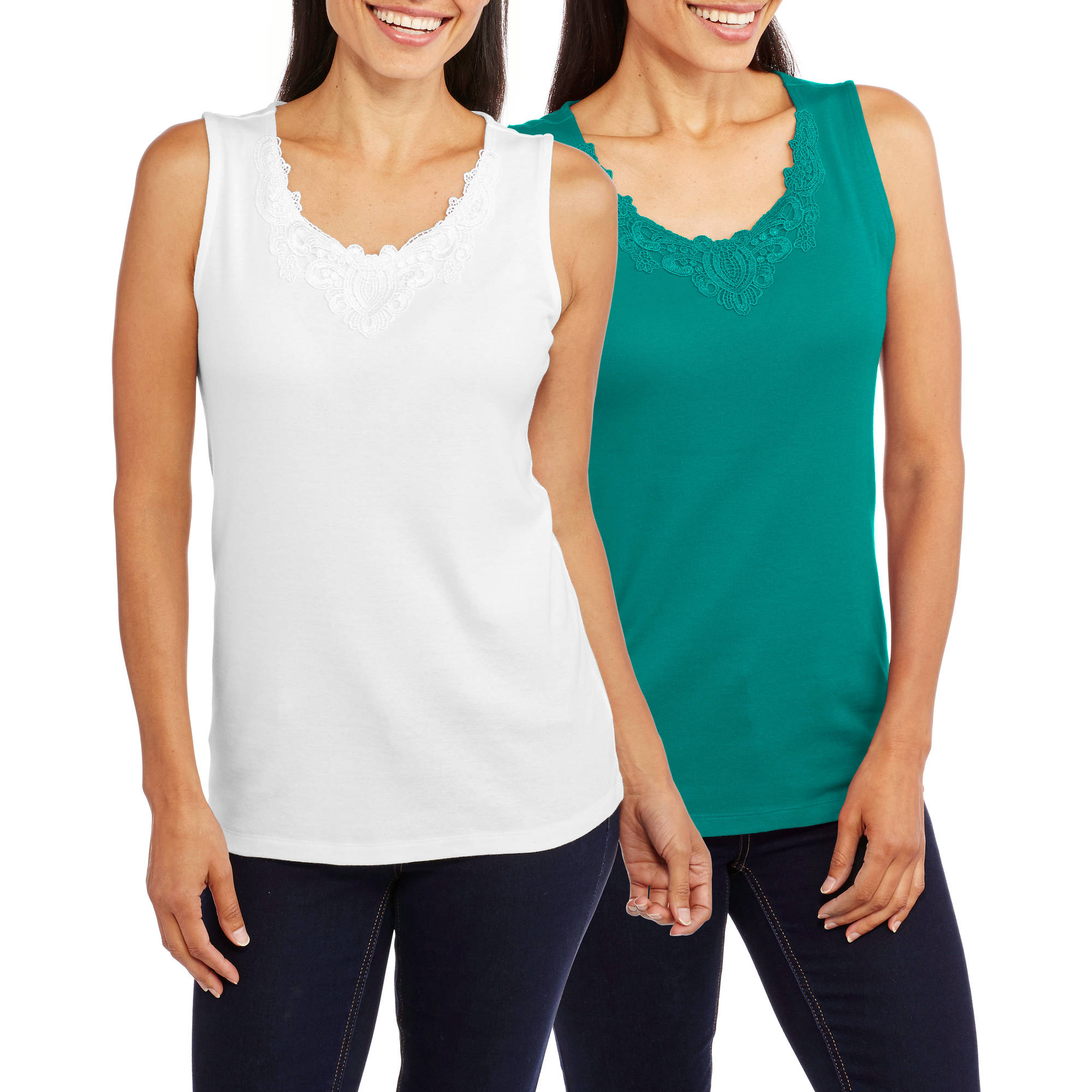 White Stag Women's Lace Trim Medallion Tank, 2 Pack Value Bundle