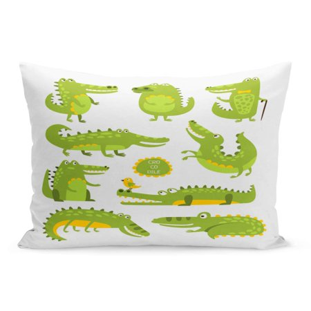 Alligator Pillow (ECCOT Green Alligator Crocodile Cute Character in Different Poses Childish Pillowcase Pillow Cover Cushion Case 20x30 inch )