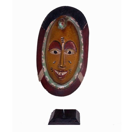 African Passport Mask on Stand Hand Carved Wood Sculpture Africa Carved Wood Mask