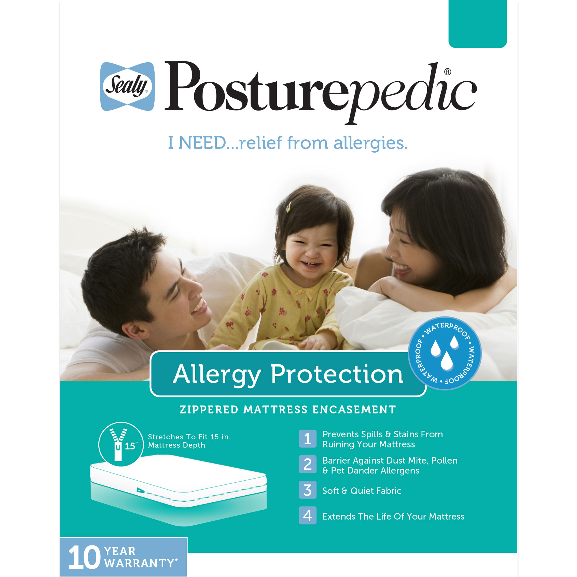 Sealy Posturepedic Allergy Protection Zippered Mattress Encasement