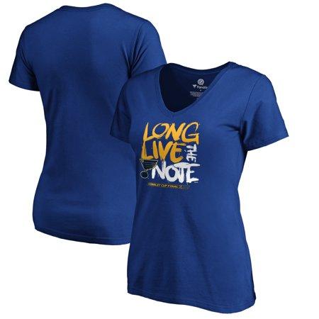 St. Louis Blues Fanatics Branded Women's 2019 Stanley Cup Final Bound Hometown Barn Burner V-Neck T-Shirt - (Leeds V Chelsea 1970 Cup Final Replay)