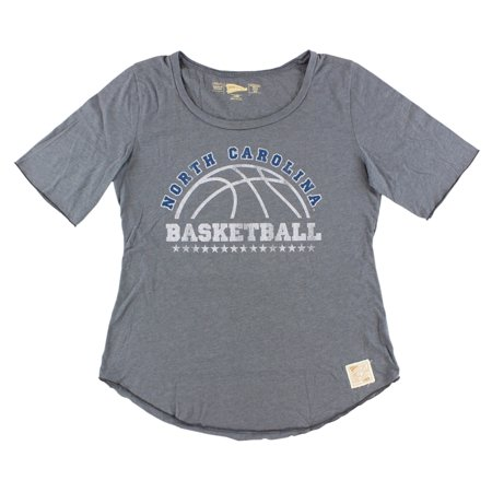 Distant Replays Womens North Carolina Tar Heels College Rounded Bottom T Shirt Dark Grey