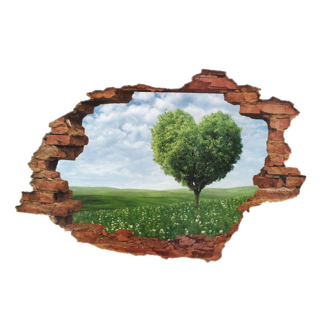 Unique Bargains Heart Shape Tree Pattern Decor Window Living Room Art Decal Wall Sticker Green