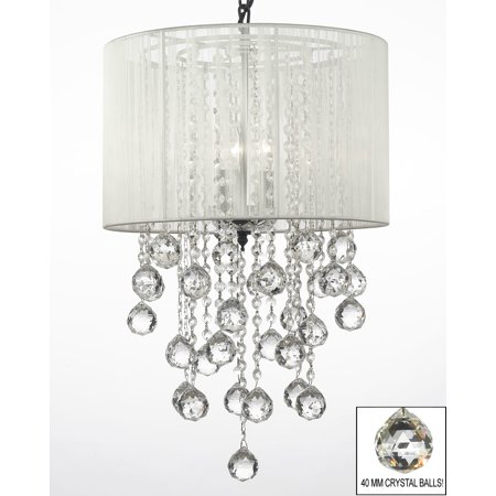"Crystal Chandelier With Large White Shade & Crystal Balls ! H24"" W15"""