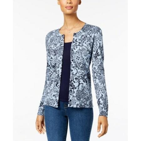 Karen Scott Women's Long Sleeve Cardigan Size L Light Blue Heather Combo