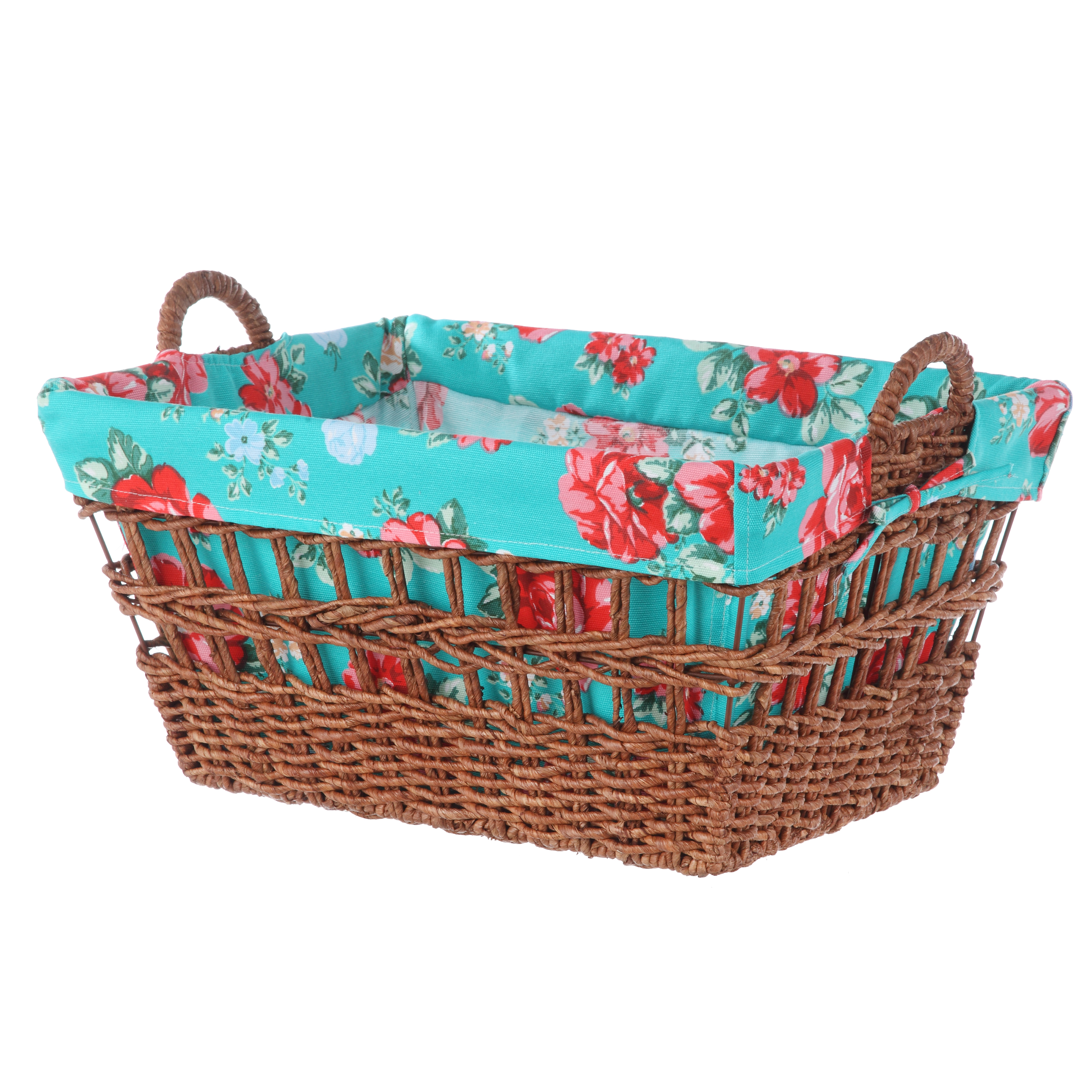 Pioneer Woman Rectangle Maize Laundry Basket - Teal Floral