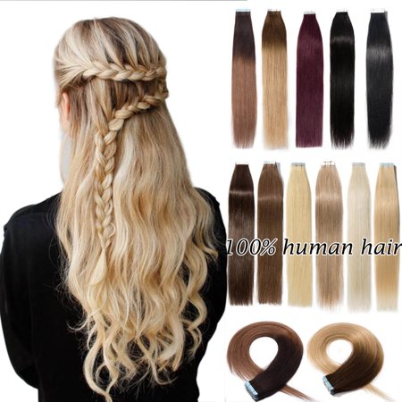 S-noilite 18 Inches Tape in Hair Extensions 100% Remy Human Hair Double Side Tape Weft Natural Hair Extensions 20pcs Long Straight Silky for Women Dark brown & light (Black Hairstyles For Long Hair With Side Bangs)