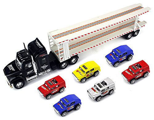 Crazy Transporter Trailer Children's Friction Toy Semi Truck Ready To Run w  6 Toy Cars... by Velocity Toys