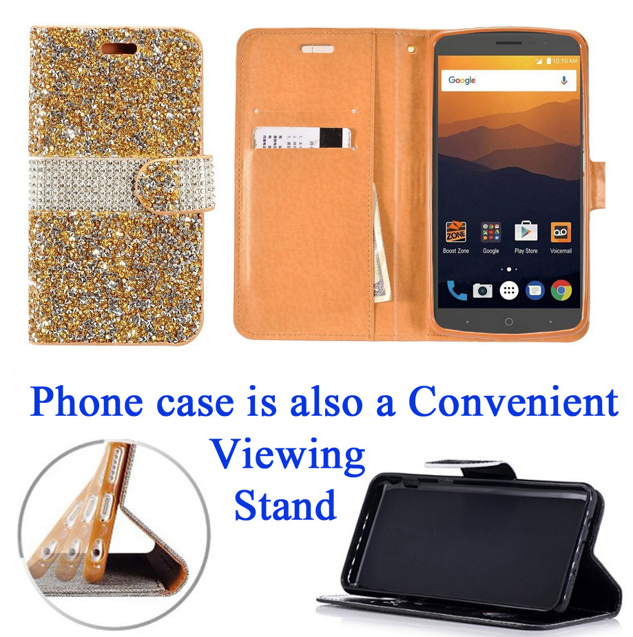 """for 6"""" ZTE ZMAX PRO Z981 zmaxpro Case Phone Case Hybrid Diamond Blig Wallet Kick stand Card Pocket Pouch Screen Flip Cover Cool Teal"""